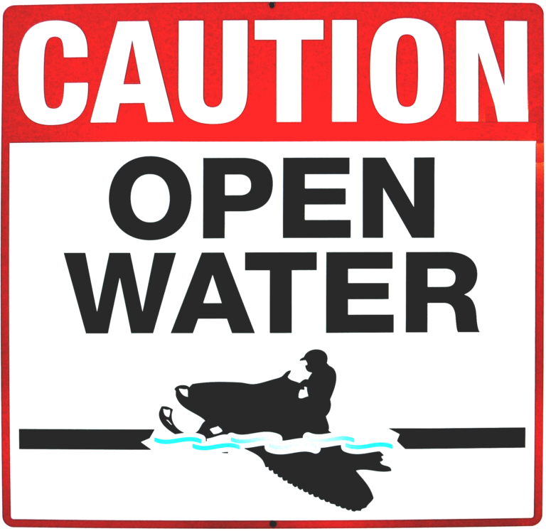 Caution Open Water Warning Sign